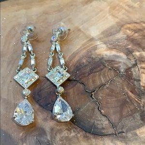 Holt Renfrew Long Crystal Victorian Earrings NWT